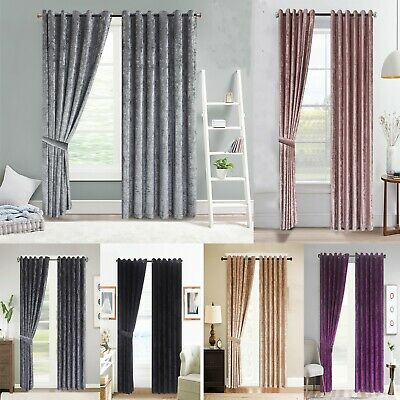 Luxury Crushed Velvet Curtains Ready Made Lined Eyelet Ring Top 10 Sizes • 27.98£
