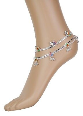£5.99 • Buy Stunning Multi-coloured Anklet Indian Payal Bollywood Ankle Chain Single Or Pair