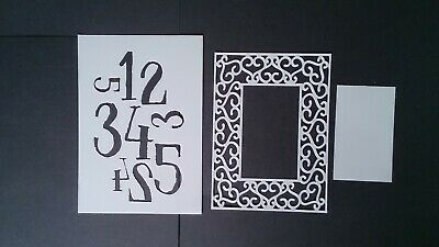 Mylar Stencils/mask, Numbers And Ornate Frame Around A6 Size (set Of 2) • 6£