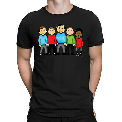 Mens ORGANIC Cotton T-Shirt VIPwees Boldly Goes Cult Sci-Fi Space TV Caricature • 13.99£
