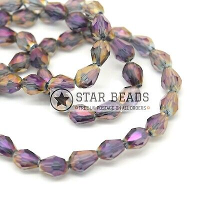 70 X Faceted Teardrop Crystal Glass Beads Grey / Metallic Purple - 5x7mm • 2.65£