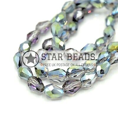70 X Faceted Teardrop Crystal Glass Beads Silver Ab - 5x7mm • 2.65£