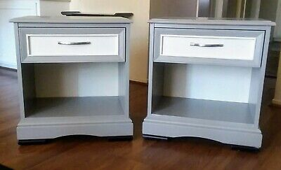 Pair Of Gray U0026 White Modern End Tables, Nightstands By American Of  Martinsville U2022 329.00