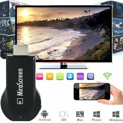 Mirascreen 1080P Wireless WiFi Display TV Dongle Receiver Media Airplay Miracast • 12.99£