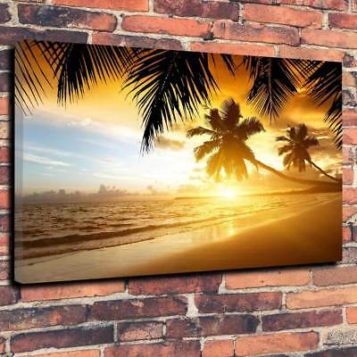 £29.99 • Buy Spectacular Beach Sunset Printed Box Canvas Picture A1.30 X20  30mm Deep