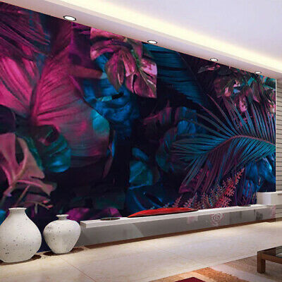 $16.99 • Buy Creative Fluorescent Color Tropical Leaves Wall Mural Kid'S Room Wallpaper Decor