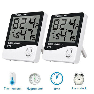 $14.99 • Buy 2 Pack Digital LCD Wireless Indoor Thermo-Hygrometer Thermometer Humidity Meter