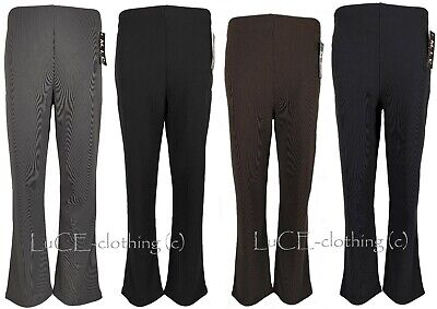 New Ladies Straight Boot Cut Leg Trousers Womens Ribbed Stretch Pull On Pants • 6.99£
