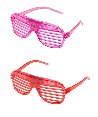 1 Red 1 Pink Flashing LED Shutter Glasses Light Up Slotted Party Glow Shades UK • 6.99£