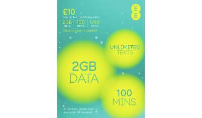 £6.75 • Buy EE Pay As You Go Sim Card With £10 Preloaded Credit 8GB Data Unlimited Text 4G
