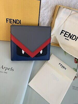 046dc046e59164 NWT FENDI Men's Classic Bag Bugs Multicolors Monster Bifold Wallet ITALY  $650 • 439.00$