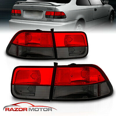 $74.95 • Buy 1996-2000 For Honda Civic 2DR Coupe Red Smoke Brake Tail Lights Pair