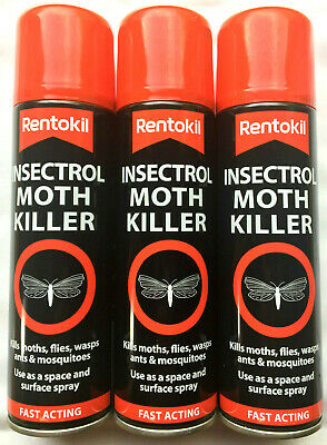 3 X Rentokil Insectrol Moth Killer Fast Acting Spray Kills Moths Fly Wasps 250ml • 19.88£