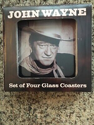$9.99 • Buy John Wayne Collectable Glass Coasters Set Of 4 In Box