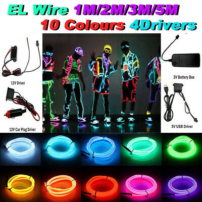 $4.69 • Buy KSIPZE Neon LED Light Glow EL Wire String Strip Rope Tube Decor Car Party