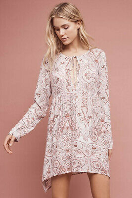 $ CDN20 • Buy Anthropologie Size Small Lilka Paisley Chemise Pink Rayon Tie-Neck Long Sleeve