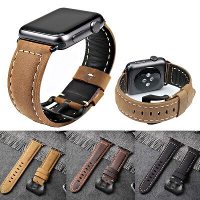 $ CDN11.05 • Buy Genuine Leather Watch Band Strap Bracelet For Apple Watch Series 1 2 3 4 38/42mm