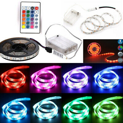 $4.65 • Buy 5050 RGB Battery Powered LED Strip Light Flexible With Remote For TV PC Back Bar
