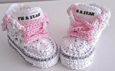 Baby Cotton  Crochet  Hand Shoes Trainers Sneakers  • 4.80£
