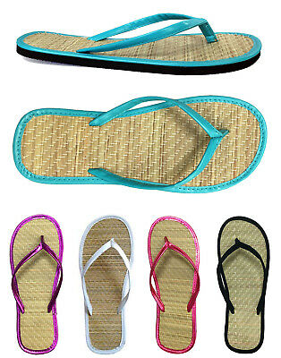 £12.28 • Buy Women's Bamboo Flip Flop Summer Sandals Beach Casual Flats Shoes 5 Colors Solid