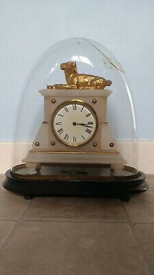 £160 • Buy French Alabaster Mantel Clock Surmounted Gilded Dog And Eagle  Under Glass Dome