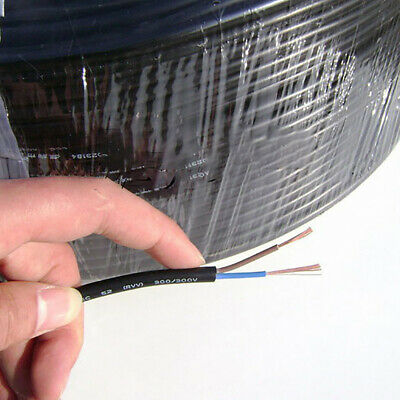 £1.75 • Buy Black Round 2-Core Wire Cable 300V 2*0.5² Copper Wire Electronic Of Hook-up Wire