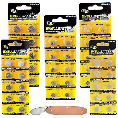 AU18.55 • Buy 51pc Essential Batteries Kit L626 L921 L1154 L754 L1131 & Watch Opener