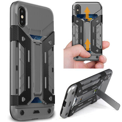 AU16.09 • Buy For Apple IPhone XS X 8 7 6 Shockproof Hard Case With Wallet Credit Card Holder
