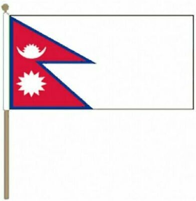 £6.99 • Buy Nepal Large Hand Waving Flag With Wooden Pole Stick 18  X 12