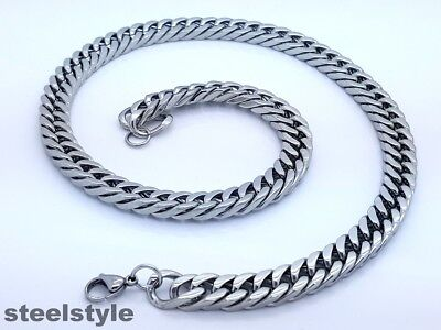 10 Mm  Men's Large  Stainless Steel Silver 316l Curb Link Chain Necklace • 10.99£