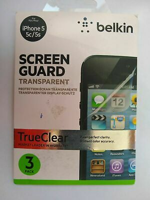 AU7.54 • Buy IPhone 5 5c 5s & SE THREE X Transparent Screen Guards & Repair By Belkin Clear