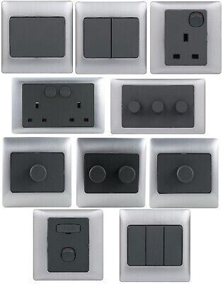 £7.99 • Buy Rocca Grey / Silver Light Dimmer Socket Switch Single Double Fused 1 2 3 Gang