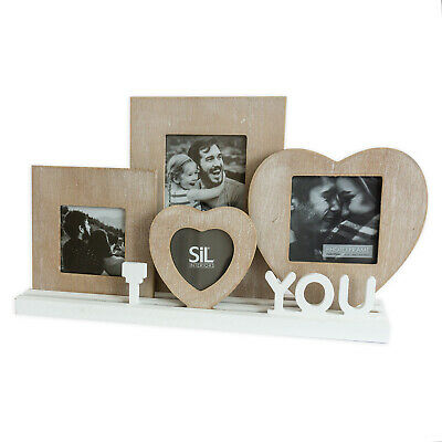 Rustic Wooden I Love You Heart Photo Picture Frames On Freestanding Tray Base • 17.99£