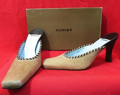 Spanish Made AUDLEY Brown Slip On Leather Heel Shoes Size 7 UK  EU 40 • 24.99£