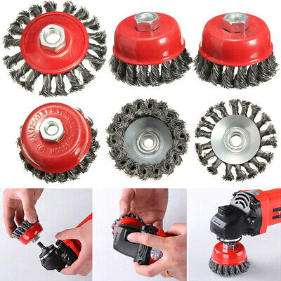 4pcs Twist Knot Semi Flat Wire Wheel Cup Brush Set Kit For 115mm Angle Grinder • 5.99£