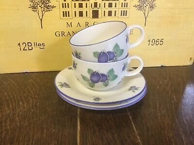 Royal Doulton Everyday Blueberry - Cups And Saucers X2 • 13.99£