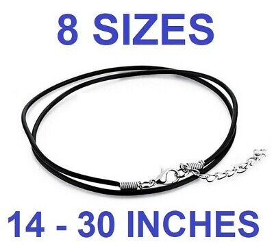 £2.99 • Buy BLACK REAL LEATHER NECKLACE With Lobster Clasp Cord String 2mm 12 - 30  Choker