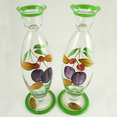 £50.47 • Buy Royal Worcester Hand Painted  Evesham Orchard  Art Glass Candle Sticks Romanian