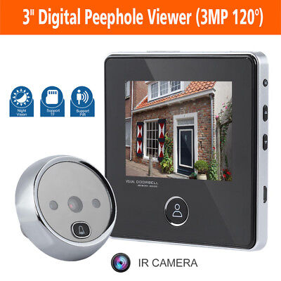 3  3MP Peephole Viewer Camera Door Eye Doorbell Screen Door Bell Ring Security • 32.25£