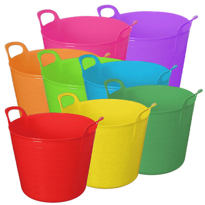 2 X 26 Litre 26L Flexi Tub Home Garden Flexible Storage Colour Bucket Basket Box • 9.95£