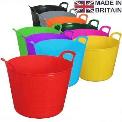 45L Litre Flexi Tub Heavy Duty Home Garden Flexible Storage Colour Bucket Basket • 6.95£