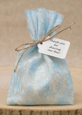 Blue Lace Lined Favour Bags Wedding Ivory Shabby Chic Vintage Personalised UK • 7.50£