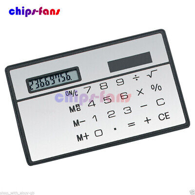 8 Digits Ultra Thin Mini Slim Credit Card Solar Power Pocket Calculator Travel • 0.99£