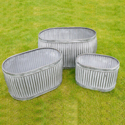 Large Vintage Galvanised Metal Planters Dolly Bath Tub Plant Flower Pot Garden • 27.95£