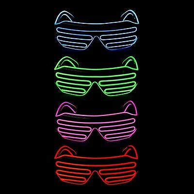 El Wire LED Light Up Glasses Neon Glow Party Rave Flashing Shutter Shade Eyewear • 10.99£