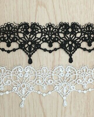 £2.19 • Buy Gothic Hearts Art Deco Fine Embroidered LACE TRIM Sewing Ribbon Craft Dress C2