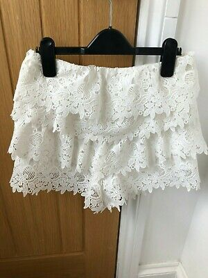 Zara Cream Ruffle Scalloped Lace Crochet Shorts Hot Pants - New Xs 6-8 • 18£