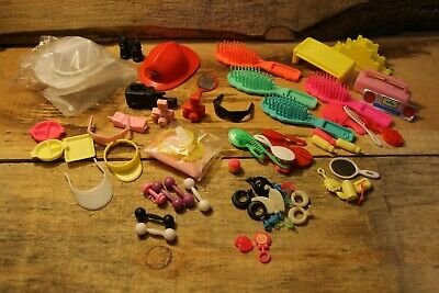 $ CDN14.99 • Buy Vintage Mixed Barbie Doll Accessories Lot Brushes Hat Phone Mirror Earrings +