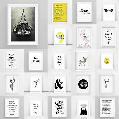 Inspirational Prints, Motivational Posters, Funny Framed Wall Art Quote A3/A4/A5 • 6.49£
