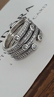 a78762776 Beautiful Authentic Pandora 100% Solid Sterling Shimmering Ocean Ring ALE  S925 • 44.05AU